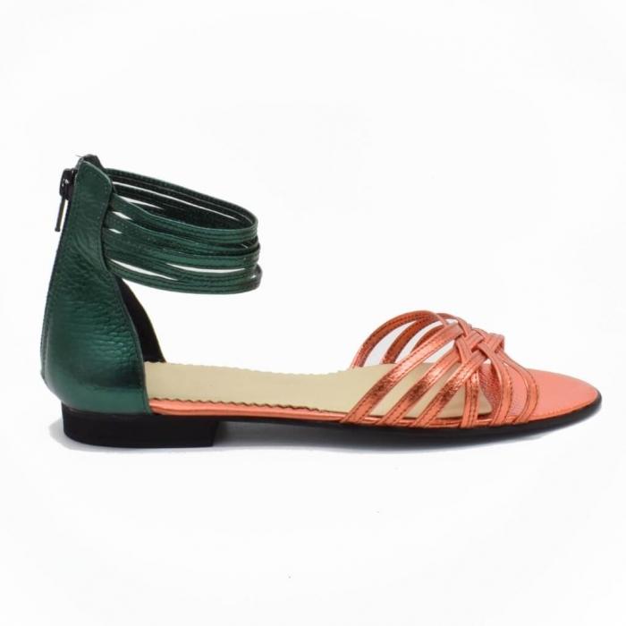 Sandale din piele naturala verde Selenar 1