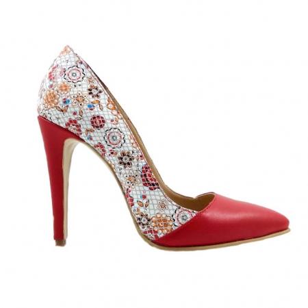 Pantofi stiletto cu imprimeu floral rosu Floretta0