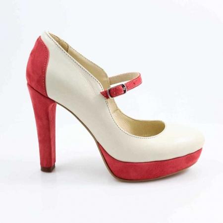 Pantofi din piele naturala Ivoire si Corai Alegria0