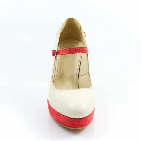 Pantofi din piele naturala Ivoire si Corai Alegria2