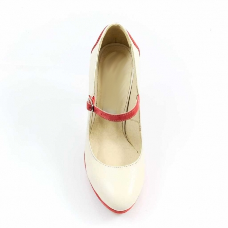 Pantofi din piele naturala Ivoire si Corai Alegria3