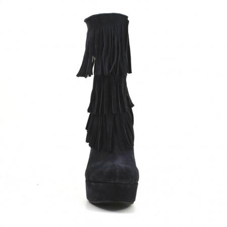Ghete elegante cu franjuri piele intoarsa neagra G 2243