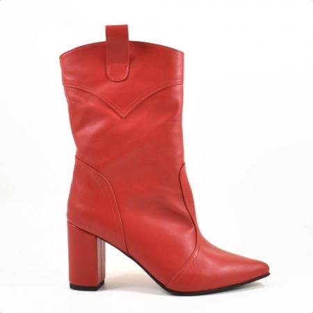 Ghete elegante, piele naturala rosie G2191