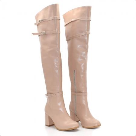 Cizme peste genunchi din piele naturala Nude RZ 010