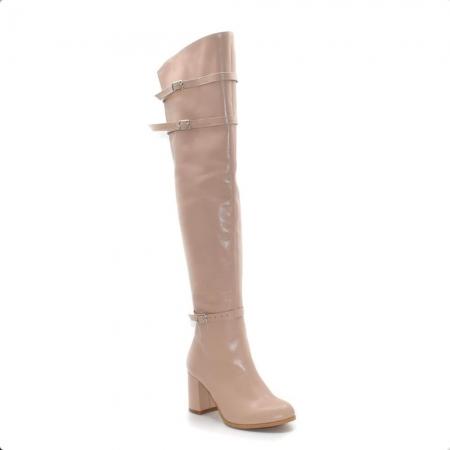 Cizme peste genunchi din piele naturala Nude RZ 012