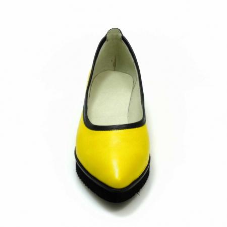 Balerini din piele naturala galben cu negru Maliana 33