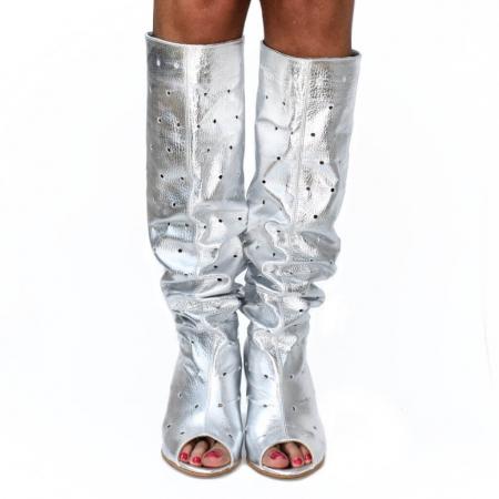 Cizme de vara perforate din piele naturala Argintie (M 191)1