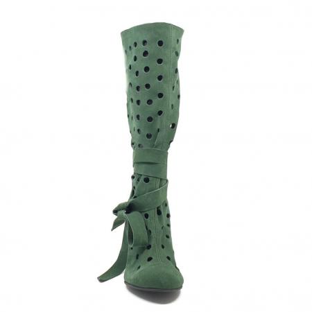 Cizme de vara perforate din piele naturala Verde  (M 191)3