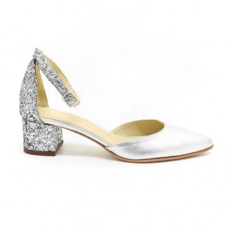 Pantofi din piele argintie si glitter Argento1