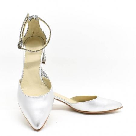 Pantofi din piele argintie si glitter Argento3