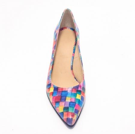 Pantofi din piele naturala multicolora cu toc de 7 cm (M 187)2
