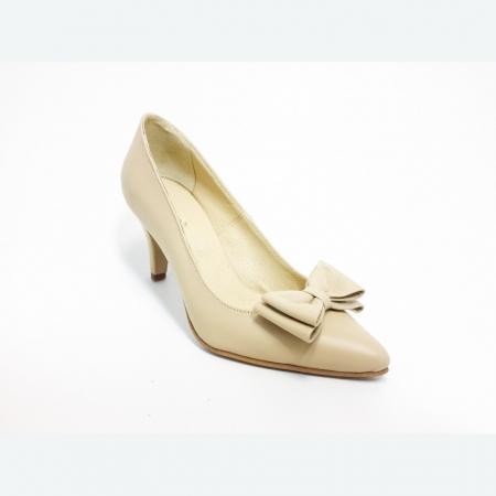 Pantofi din piele naturala nude cu varf ascutit (M186)1