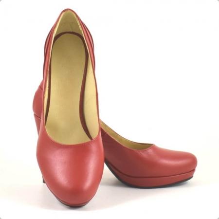 Pantofi din piele naturala rosie Mauro (P 209)3