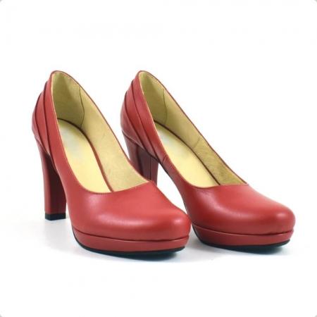 Pantofi din piele naturala rosie Mauro (P 209)0