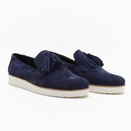 Pantofi din piele naturala Simonne Bleumarin0