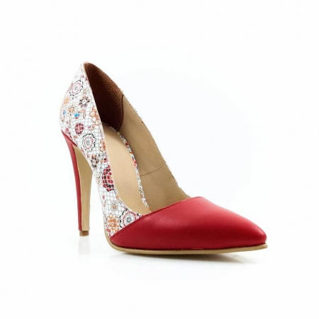 Pantofi stiletto cu imprimeu floral rosu Floretta1
