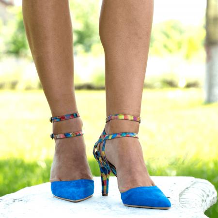 Pantofi Stiletto Blue Joy CZ 094