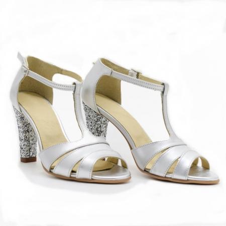 Sandale din piele argintie cu glitter argintiu Ancolette0