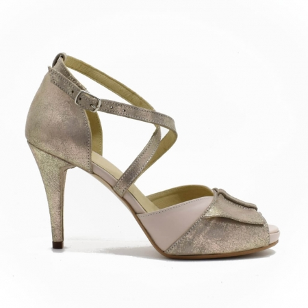Sandale din piele aurie Melissa1