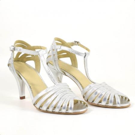 Sandale din piele naturala argintie cu toc de 7cm Avellino ( GM 1907 )0
