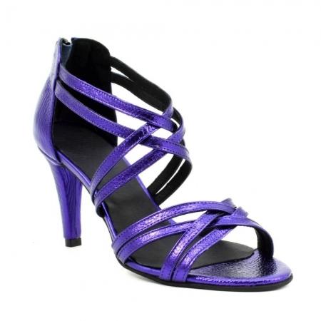 Sandale din piele naturala mov sidefat Ancona (GM 1904)2