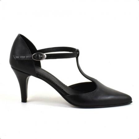 Sandale din piele naturala neagra cu toc de 7 cm Azaleea1
