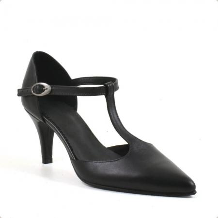 Sandale din piele naturala neagra cu toc de 7 cm Azaleea2