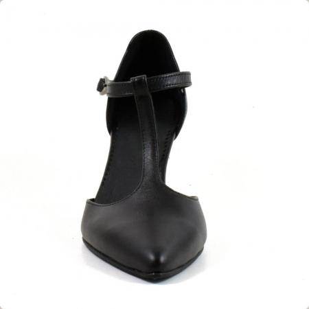 Sandale din piele naturala neagra cu toc de 7 cm Azaleea3