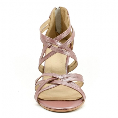 Sandale din piele naturala roze gold Agrigento (GM 1903)3
