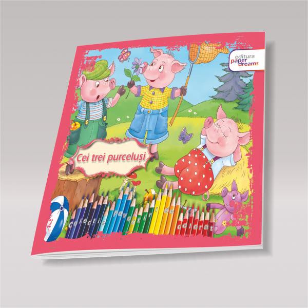 Carte de colorat si povesteipentru copii - Cei trei purcelusi 0