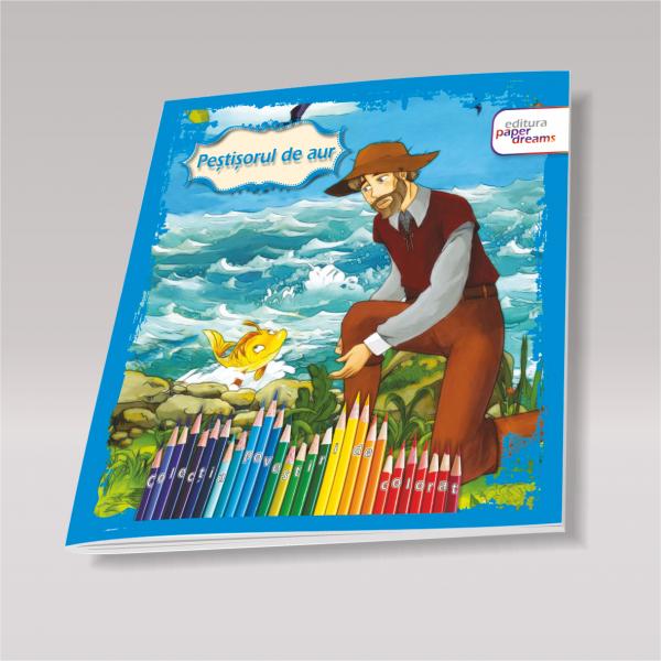 Carte de colorat si povesteipentru copii - Pestisorul de aur 0