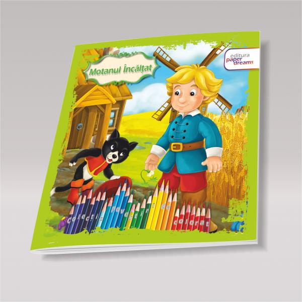 Carte de colorat si povesti pentru copii - Motanul incaltat 0
