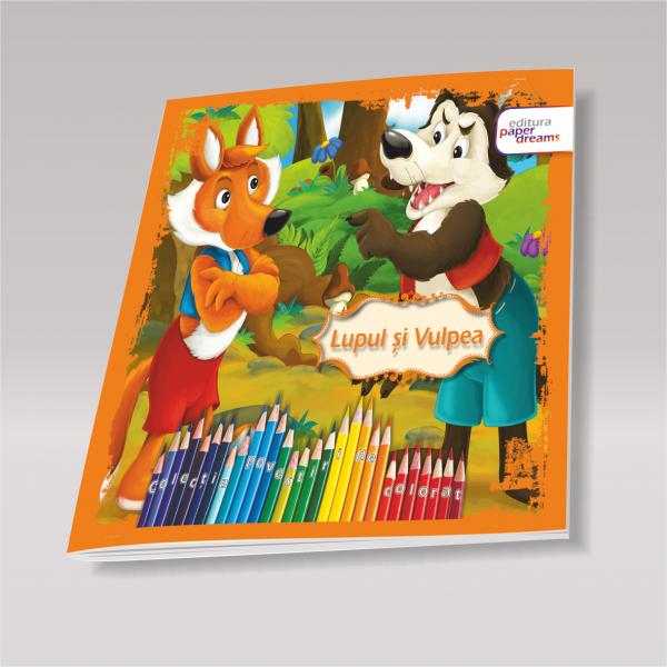 Carte de colorat si povesti pentru copii - Lupul si vulpea 0