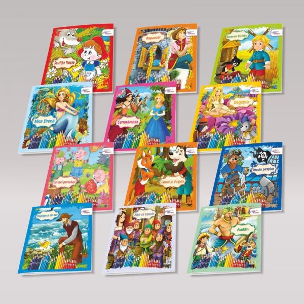 Set 12 carti de colorat si povesti pentru copii - Povestiri de colorat 0