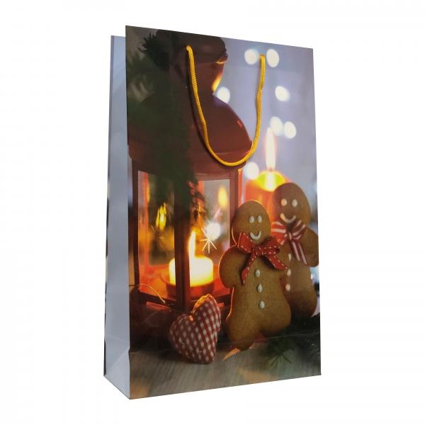 Punga cadou de hartie mare cu model iarna - felinar si turta dulce 0