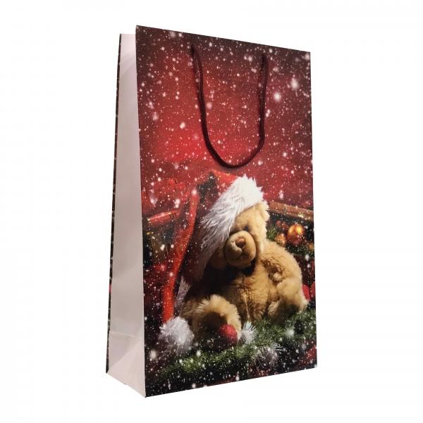Punga cadou de hartie mare cu model iarna - ursulet 0
