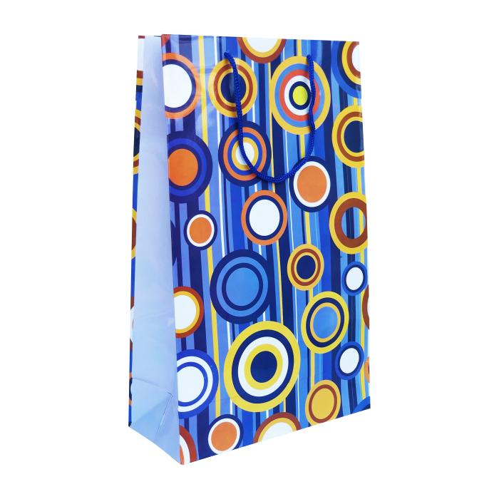 Punga cadou de hartie mare cu model vara - cercuri colorate 0