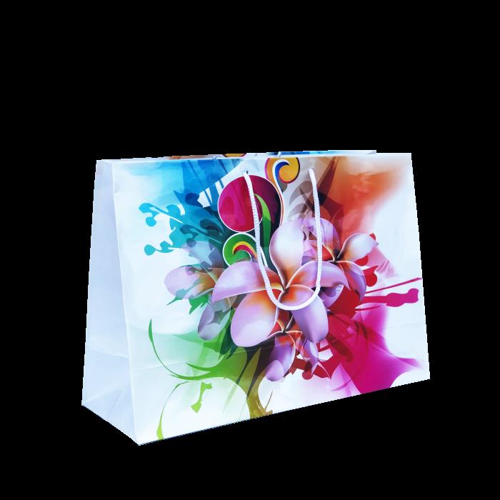 Punga cadou de hartie mare cu model vara - flori 0
