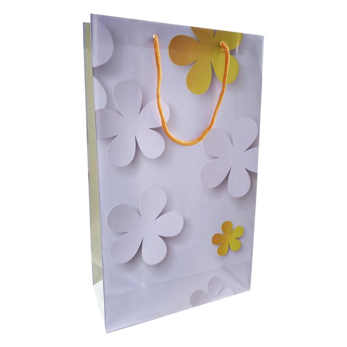 Punga cadou de hartie mare cu model vara - floare galbena 0