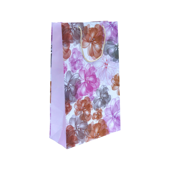 Punga cadou de hartie mare cu model vara - flori roz-gri 0