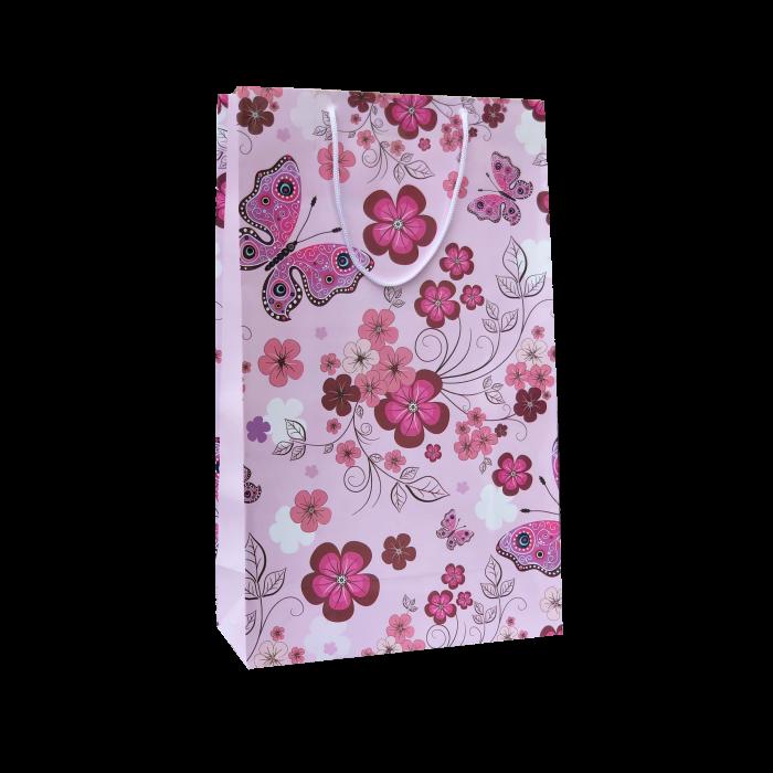 Punga cadou de hartie mare cu model vara - flori si fluturi roz 0