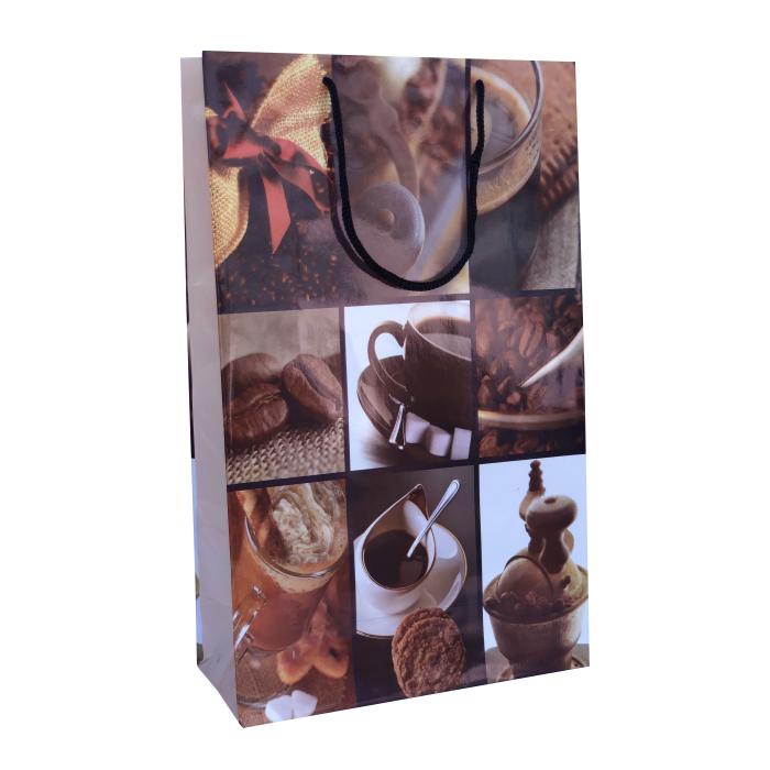 Punga cadou de hartie mare cu model vara - elemente cafea 0