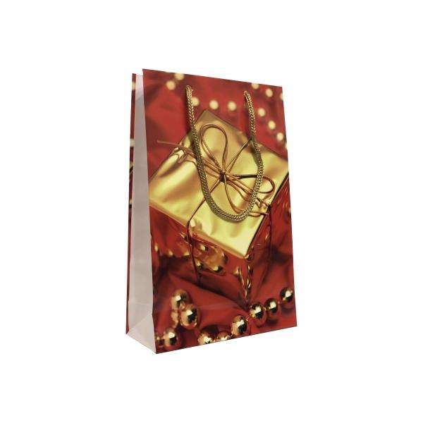 Punga cadou de hartie medie cu model iarna - cadou auriu 0