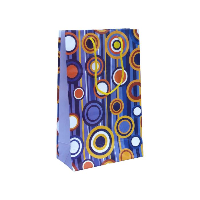 Punga cadou de hartie medie cu model vara - cercuri colorate 0