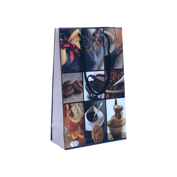 Punga cadou de hartie medie cu model vara - elemente cafea 0