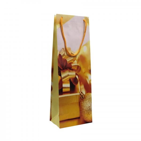 Punga cadou de hartie pentru sticla cu model iarna - cutie cadou funda aurie 0