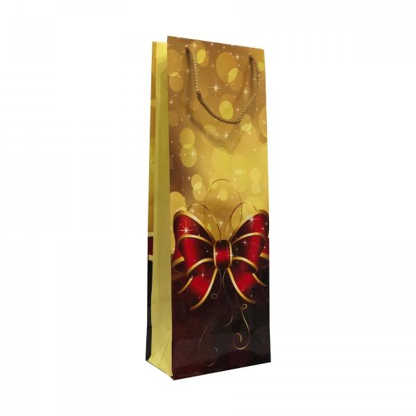 Punga cadou de hartie pentru sticla cu model iarna - funda cadou 0