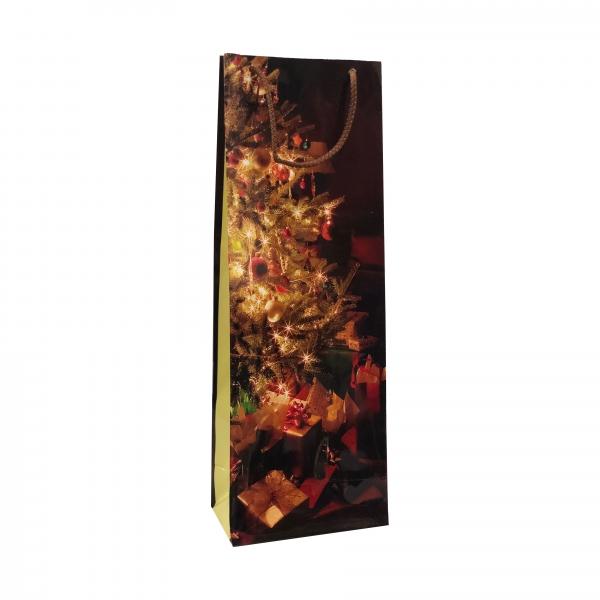 Punga cadou de hartie pentru sticla cu model iarna - crengute brad si cadouri 0