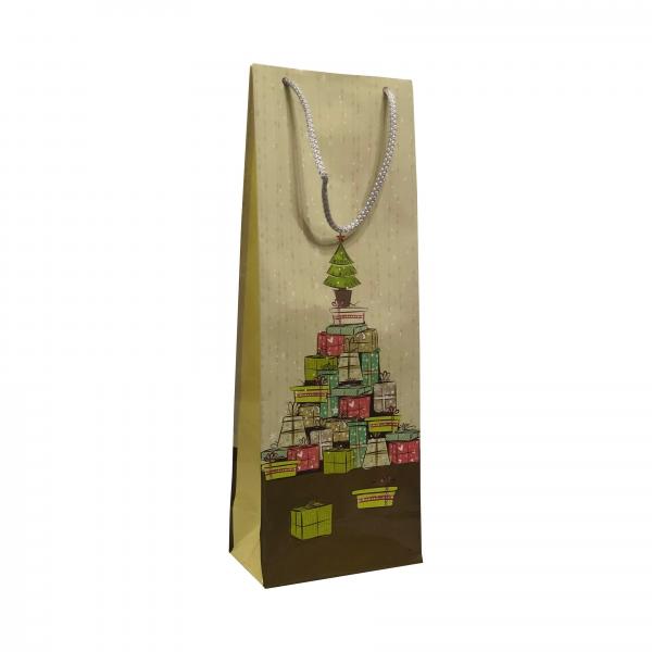 Punga cadou de hartie pentru sticla cu model iarna - brad din cadouri [0]