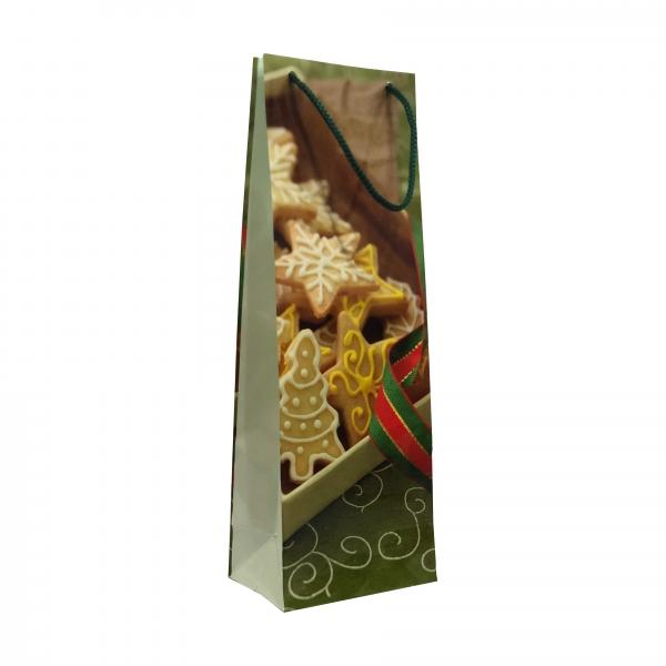 Punga cadou de hartie pentru sticla cu model iarna - cutie turta dulce 0